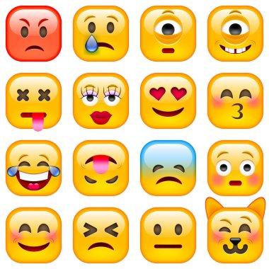 Set of Square Emoticons