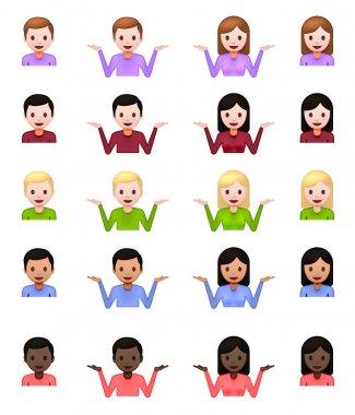 Shrug Emoji icons set