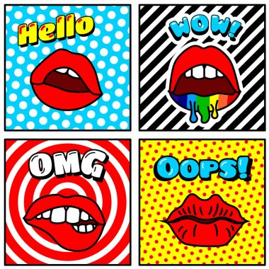 banners with retro lips