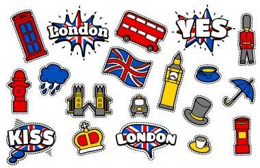 british symbols patches set