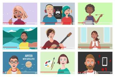 Set Of Different People On Internet Videos. Beauty Blogger. Gamers. Yoga Blogger. Cooking Blog. Music Covers. Travel Vlog. Science Nerdy Vlog. Artist Tutorials Vlog. Vector Illustration.