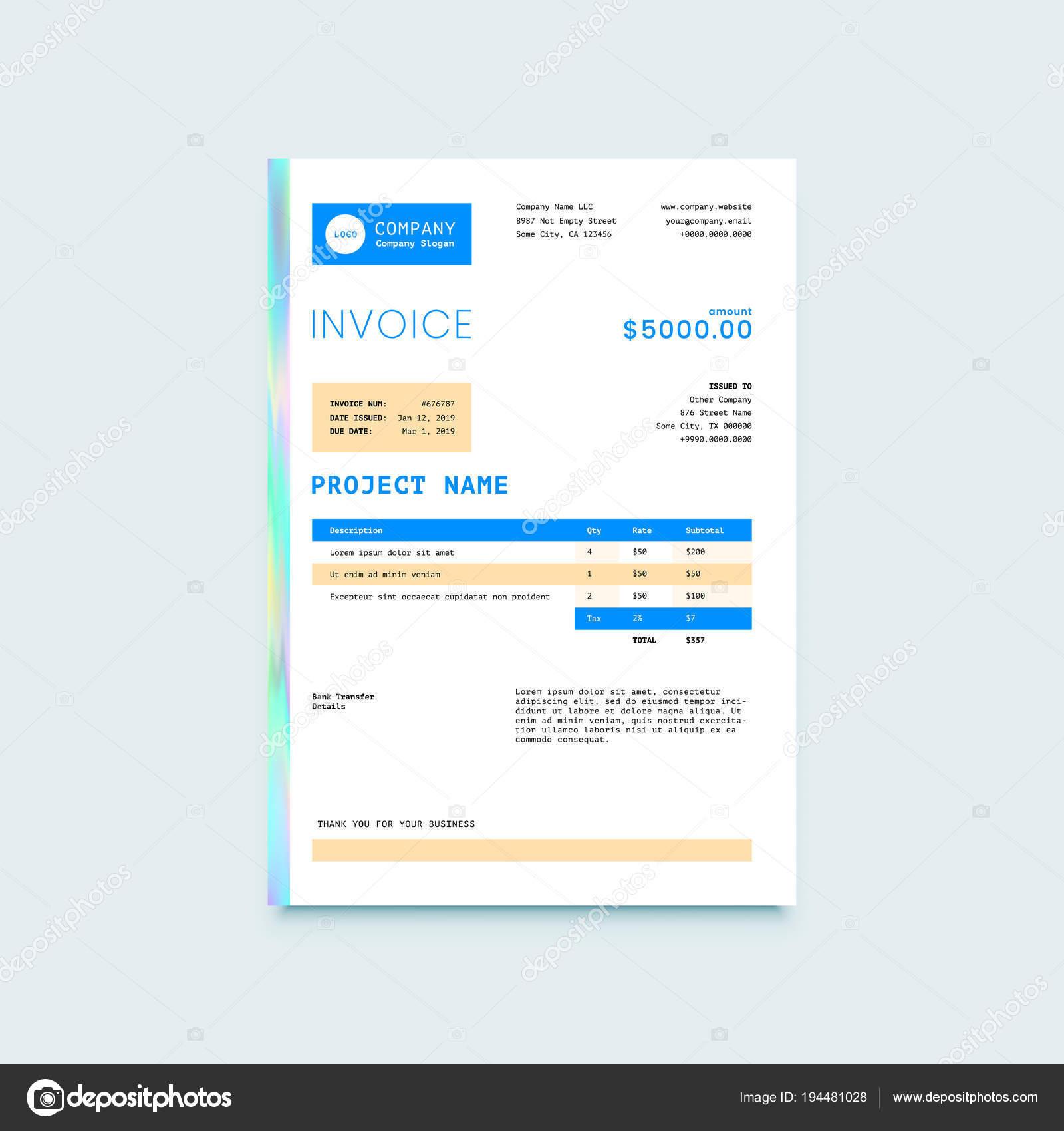 Rechnung Form Design Vorlage Stockvektor Ober Art 194481028
