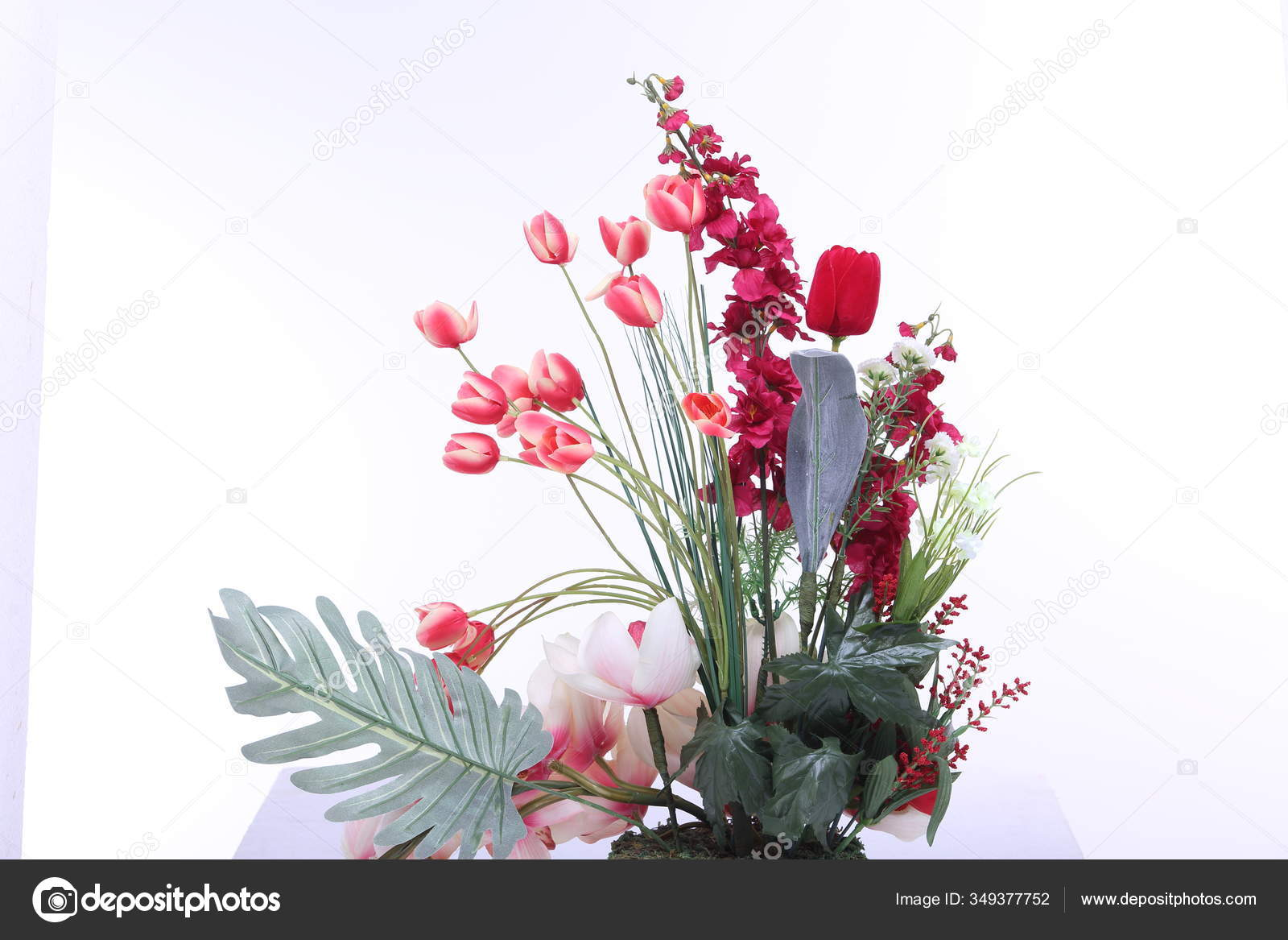Bouquet Red Pink Many Kind Flower Vase Jar Artificial Studio Stock Photo C Jadethaicatwalk 349377752