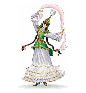 Kazakh girl dancing dance