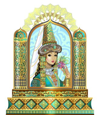 beautiful bride in the Kazakh outfit in Kazakh ornaments, young and innocent, beautiful eyes, the Kazakh people jewelry, beautiful bride dressed in Kazakh
