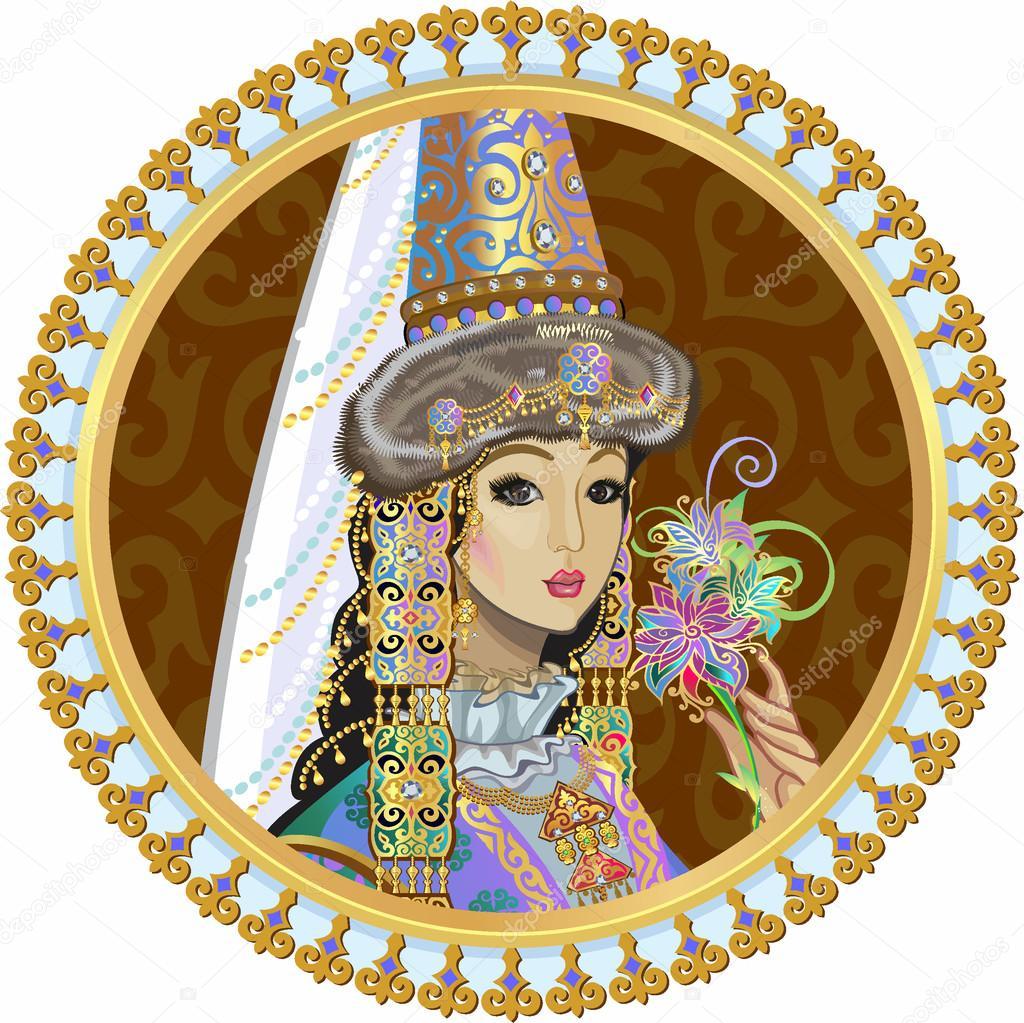 Портрет красивої дівчини в національних казахської традиційні весільну  сукню– стокова ілюстрація b2f774dde9529