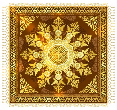 Beautiful background of cards and blank for sites, chic golden symbols of Kazakh art, art ornaments with jewels. Shanyrak - a symbol of the eastern people, a symbol of prosperity, a symbol of prosperity and household wealth. The luxury shanurak.