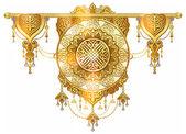 Beautiful background shanyrak interior ceiling, chic golden symbols of Kazakh art, yurts element