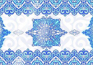 lace, blue pattern, elegant pattern, elegant decoration, decoration, textile, tumar, symbol saukele, shanyrak, Kazakh ornaments, Kazakh gold, taykazan, kobyz, wedding, Kazakh pattern, Kazakhstan clothing, decorative elements, printing fabric, ethnos