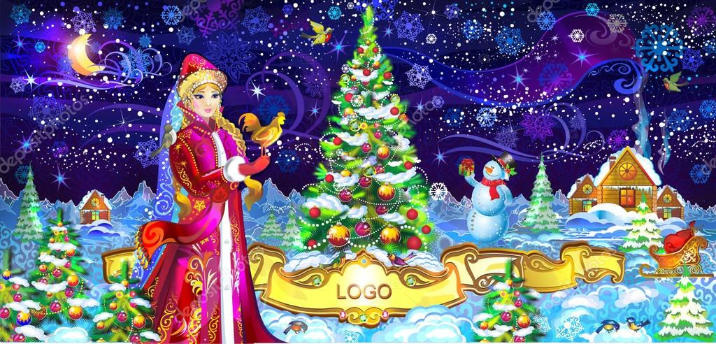 depositphotos 130531188 stock illustration russia new year snow maiden