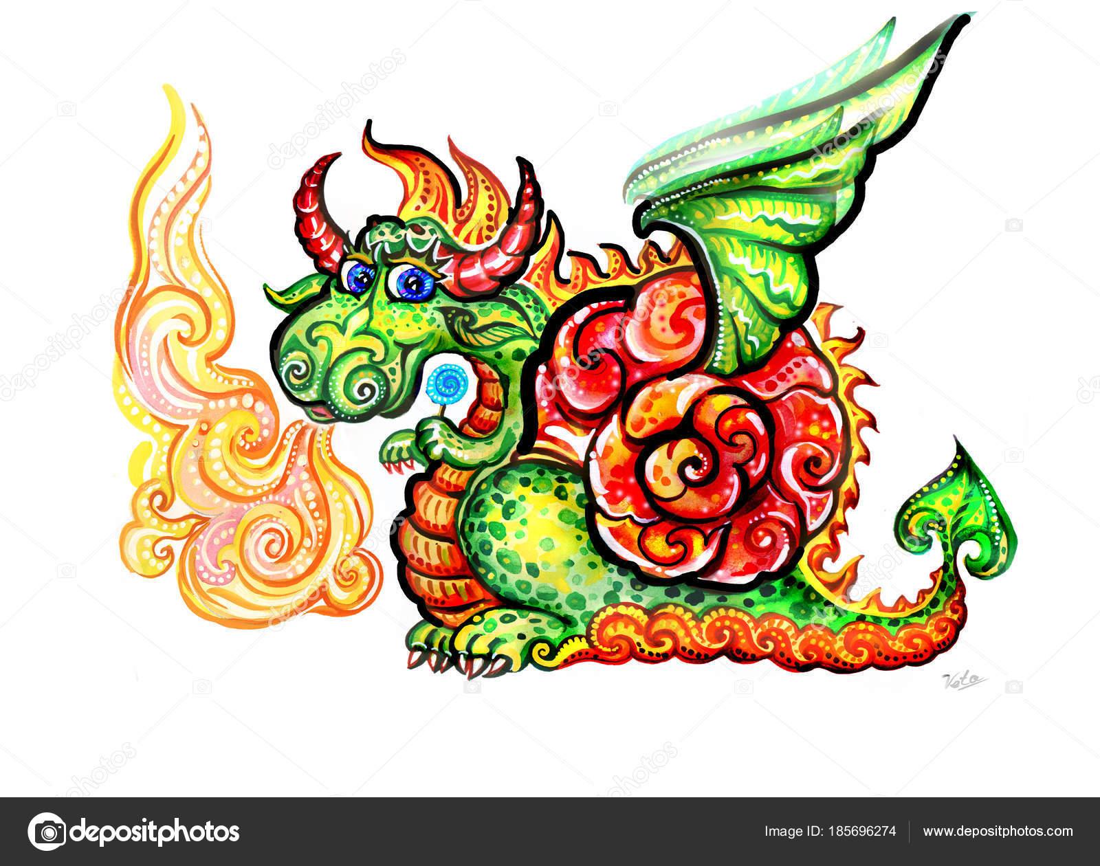 Dragón Dragón Cuerno Dragón Dragón Chino Año Del Dragón Acuarela ...