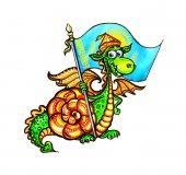 Kasachische Drachen, Flagge Kasachstans, lustige Drachen, Drachen Jahr, roter Drache, Schnecke, geflügelten Drachen, Hörner, Drachen, chinesische Drachen, Jahr des Drachen, Aquarell, Charakter, Silvester Hase, Weihnachtsmann, Schnee, Postkarte für Kinder, niedliche, mit Karotte Hase