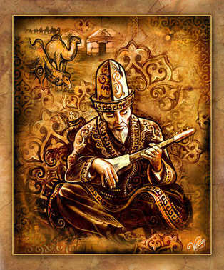 painting, asia motif, sage illustration, Kazakh singer, musical instrument, dombra, kobyz, akyn, poet, Kazakh musician, Kazakh life, traditions of the East, yurt, aul, Kazakh village, Kirghiz dwelling, sheep, kerege, torsoak, bit of the peoples
