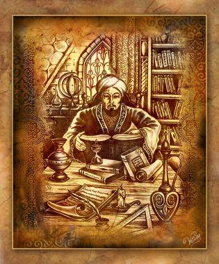 a picture, an asia motif, an illustration on a theme of wise men, Al Farabi, hodja Ahmet Yassaui, painting, asia motif, sage illustration, Al Farabi, hodja Ahmet Yassaui, enlightener, Kazakh figure, oriental sage, history of history, Kazakh history,