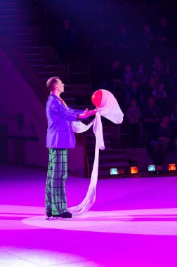 Performance of clown of Moscow Circus on Ice on tour