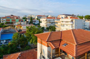 Top view of traditional Greek low-rise buildings, Nea Kallikratia, Greece