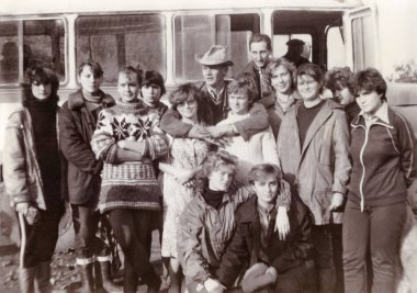 Students of Vitebsk medical institute in collective farm (vintage black and white photo 1988)