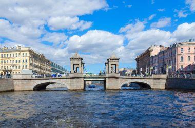 View of Lomonosov Bridge across Fontanka River, St. Petersburg, Russia