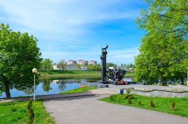 Monument to 23rd Guardsmen on bank of Western Dvina River, Nizhne-Pokrovskaya Street, Polotsk, Belarus