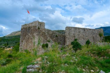The walls of citadel with view of mountains, Old Bar, Montenegro
