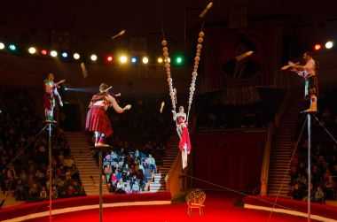 Tour of Moscow Circus named after Nikulin. Group jugglers under direction of Lyubov Karsanova