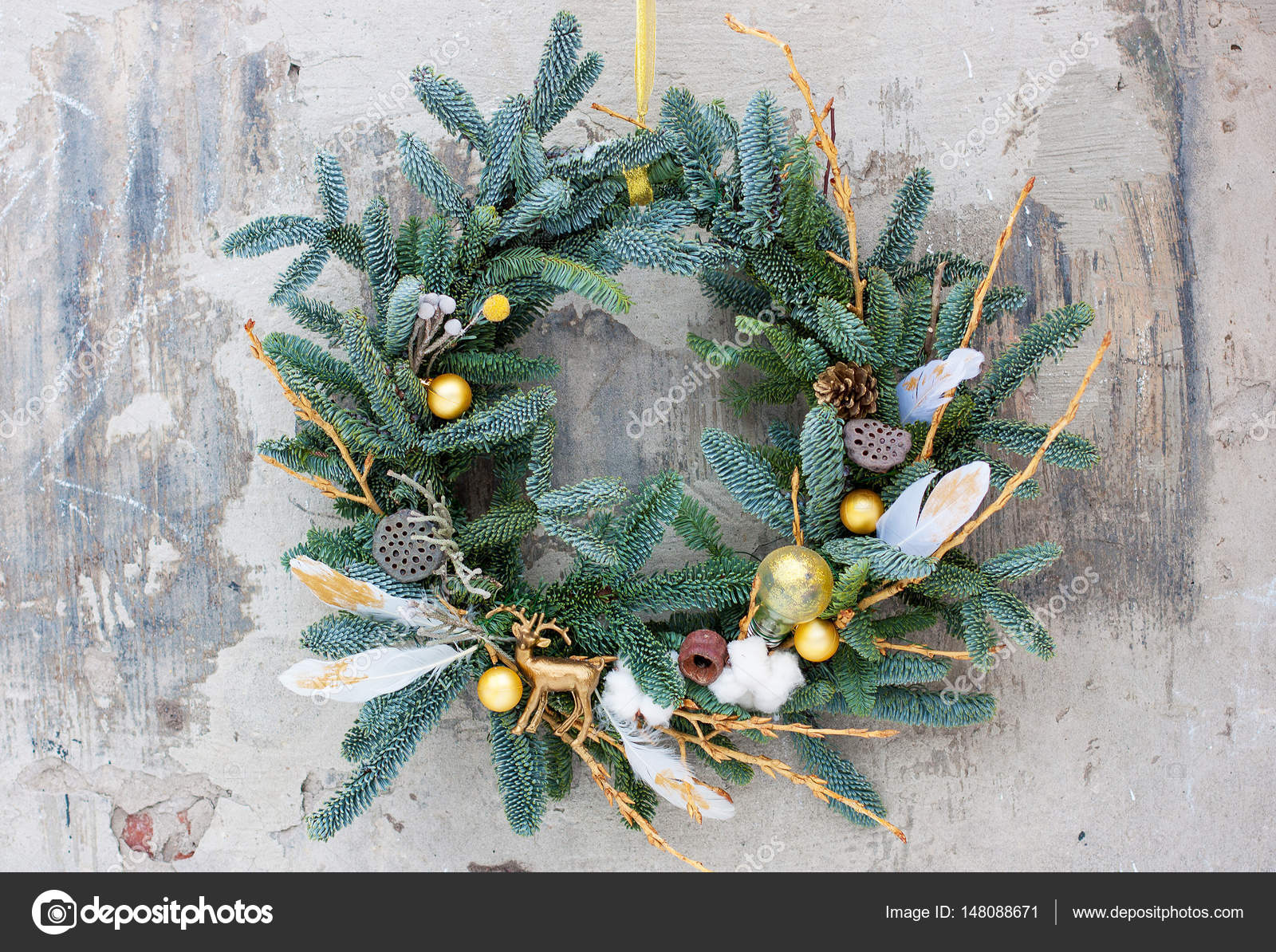 Christmas Wreath In Boho Style Decorated With Feathers Stock Photo Image By C Hanna Pylypenko 148088671