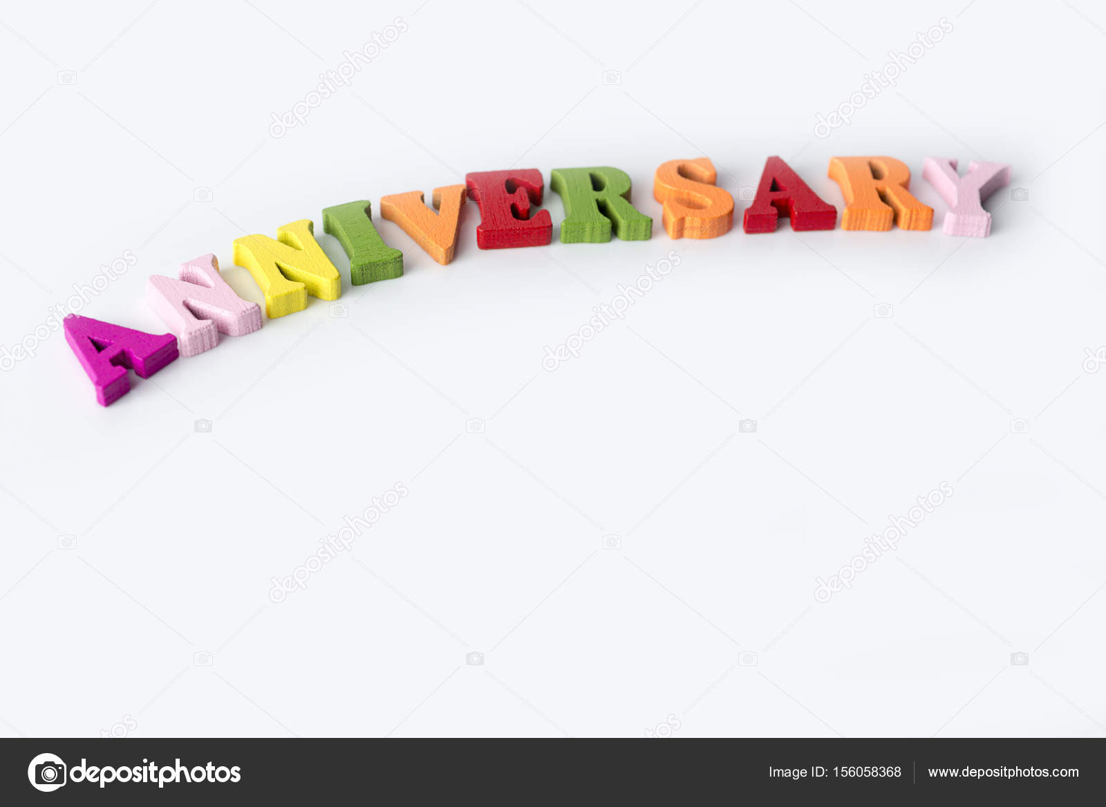 the word anniversary on the white background stock photo