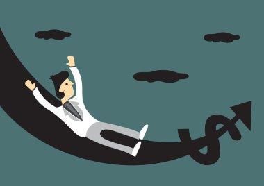 Rich Man on Money Slide Vector Cartoon Illustration