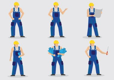 Construction Worker Vector Cartoon Character Set