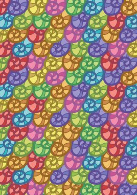 Colorful Seashells Pattern Abstract Vector Background