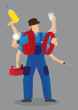 Busy Multi-tasking Handyman Worker Cartoon Character Vector Illu