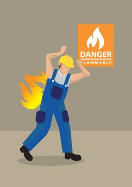 Worker in Fire Accident at Workplace Cartoon Vector Illustration