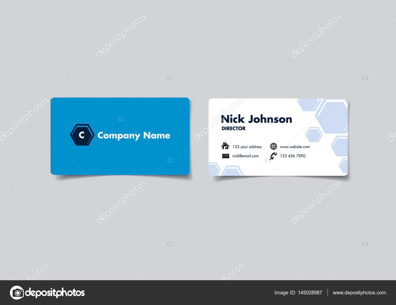 Blue Hexagon Business Name Card Design — Stock Vector © hofred ...