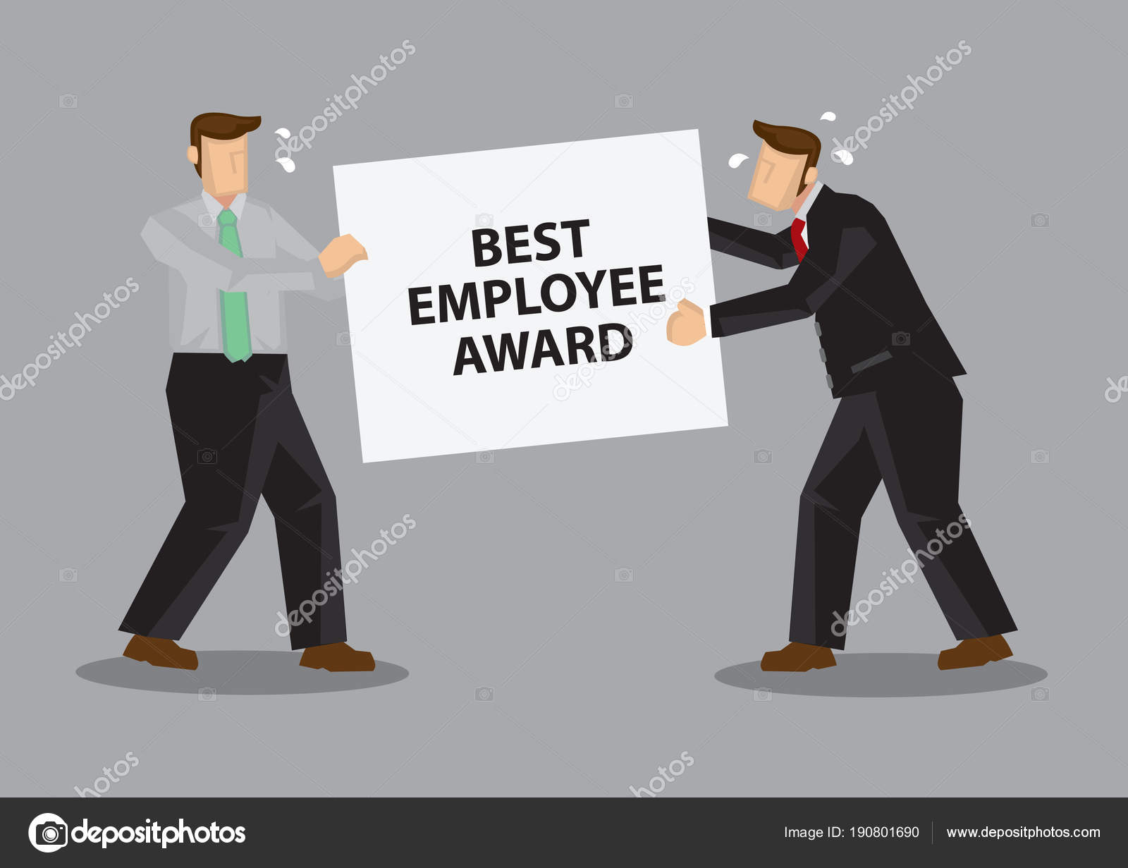 fighting for best employee award cartoon vector illustration stock