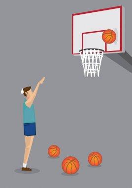 Uninspiring Basketball Missed Shot Vector Illustration