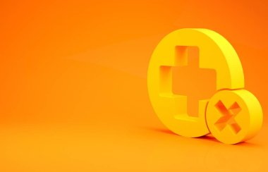 Yellow Cross hospital medical icon isolated on orange background. First aid. Diagnostics symbol. Medicine and pharmacy sign. Minimalism concept. 3d illustration 3D render