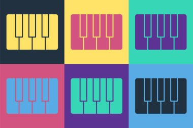 Pop art Music synthesizer icon isolated on color background. Electronic piano. Vector Illustration