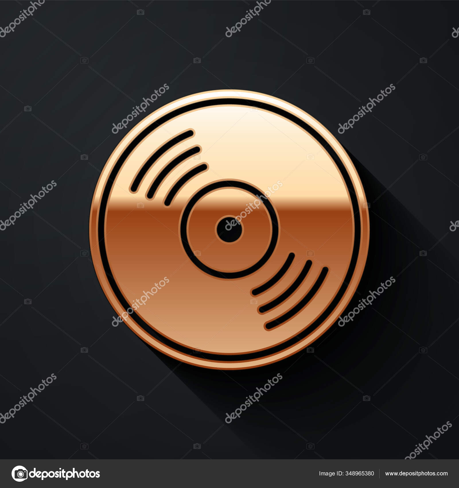 Gold Vinyl Disk Icon Isolated Black Background Long Shadow Style Stock Vector C Vectorstockvadim 348965380