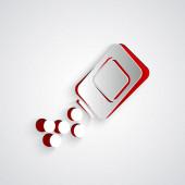 Papír vágott Medicine palack és tabletták ikon izolált szürke háttér. Palack tabletta jele. Gyógyszertári tervezés. Papírművészeti stílus. Vektoros illusztráció
