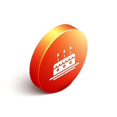 Isometric Cake with burning candles icon isolated on white background. Happy Birthday. Orange circle button. Vector Illustration
