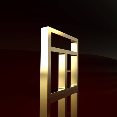 Gold Window in the room icon isolated on brown background. Minimalism concept. 3d illustration 3D render