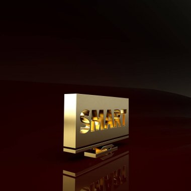 Gold Screen tv with Smart video technology icon isolated on brown background. Minimalism concept. 3d illustration 3D render