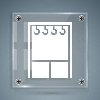 White Wardrobe icon isolated on grey background. Square glass panels. Vector Illustration