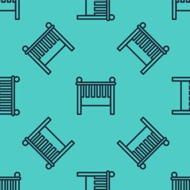 Black line Baby crib cradle bed icon isolated seamless pattern on green background. Vector Illustration