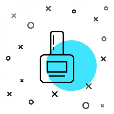 Black line Nail polish bottle icon isolated on white background. Random dynamic shapes. Vector Illustration