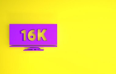 Purple Screen tv with 16k Ultra HD video technology icon isolated on yellow background. Minimalism concept. 3d illustration 3D render