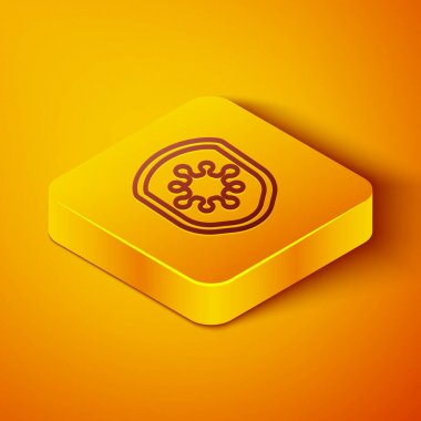 Isometric line Shield protecting from virus, germs and bacteria icon isolated on orange background. Immune system concept. Corona virus 2019-nCoV. Yellow square button. Vector Illustration