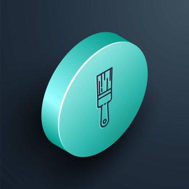 Isometric line Paint brush icon isolated on black background. Turquoise circle button. Vector Illustration