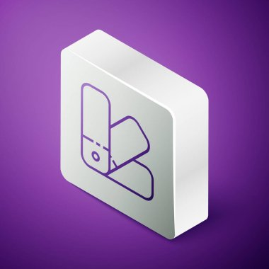 Isometric line Color palette guide icon isolated on purple background. Silver square button. Vector Illustration