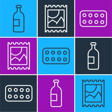 Set line Alcohol drink bottle, Pills in blister pack and LSD acid mark icon. Vector icon
